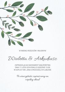 Zaproszenie na ślub - Drzewko miłości
